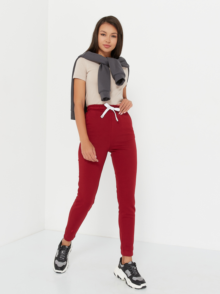 high waisted pants cherry